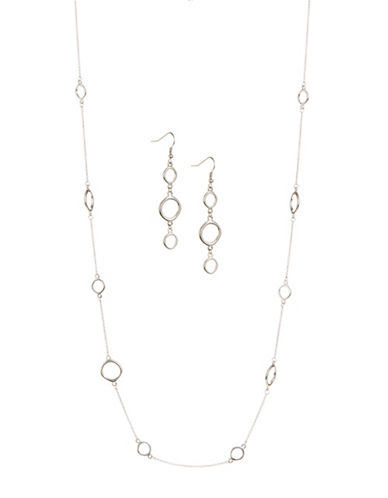 Expression Circle Earring and Necklace Set-SILVER-One Size
