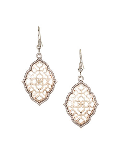 Expression Losange Filigree Drop Earrings-TWO TONE-One Size
