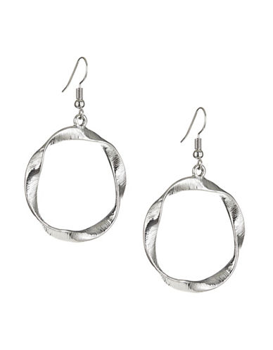 Expression Silvertone Twisted Hoop Earrings-SILVER-One Size