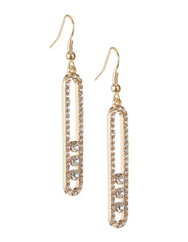 Expression Pave Rhinestone Drop Earrings-GOLD-One Size