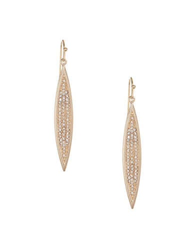 Expression Pavé Crystal Pointed Ellipse Drop Earrings-GOLD-One Size
