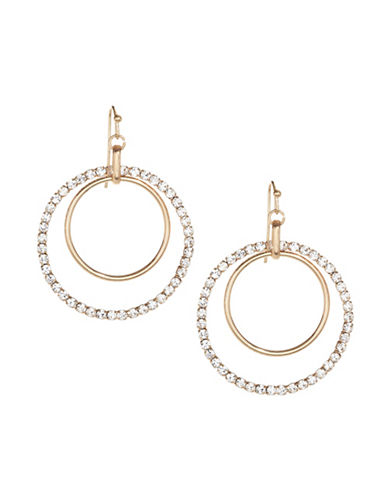 Expression Crystal Pavé Hoop Earrings-GOLD-One Size