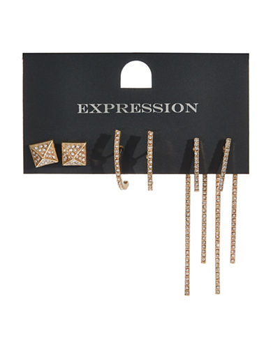 Expression Three-Pack Pave Crystal Earrings-GOLD-One Size