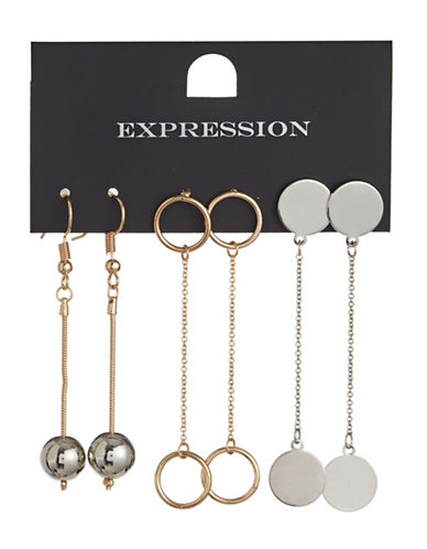 Expression Three-Pair Chain Drop Earrings Set-ASSORTED-One Size