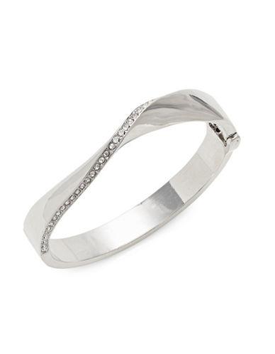 Expression Pavé Crystal Wavy Bangle Bracelet-SILVER-One Size