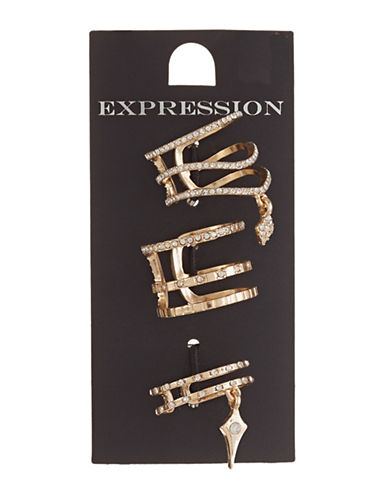 Expression Set of Three Pave Accent Rings-GOLD-9