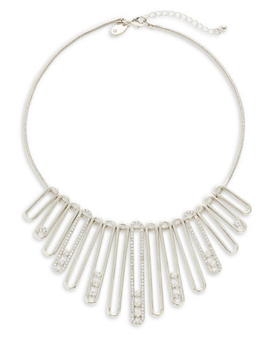 Expression Pavé Crystal Bar Bib Necklace-SILVER-One Size