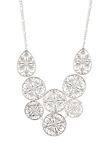 Expression Crystal Floral Necklace-SILVER-One Size