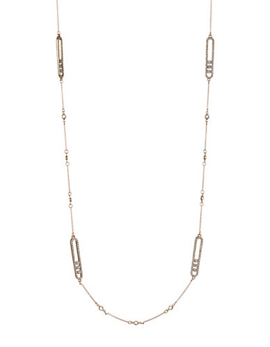 Expression Oval Pave Station Necklace-GOLD-One Size