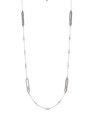 Expression Oval Pave Station Necklace-SILVER-One Size