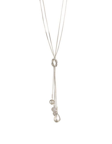 Expression Dangly Pave Ball Necklace-SILVER-One Size