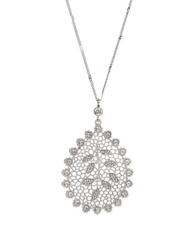 Expression Crystal Filigree Teardrop Pendant Necklace-SILVER-One Size