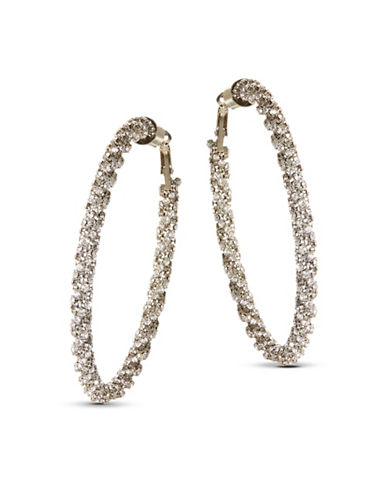Expression Twisted Rhinestone Hoop Earrings-SILVER-One Size