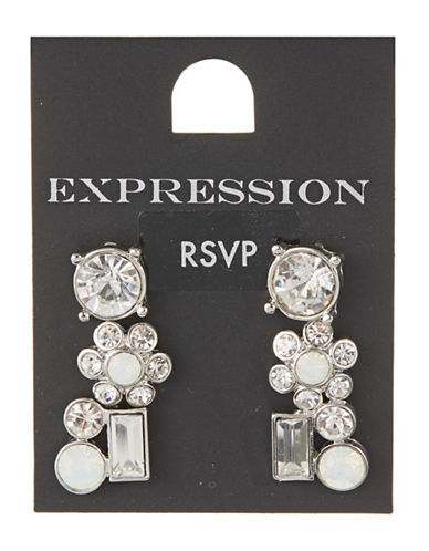 Expression Set of Three Rhinestone Earrings-SILVER-One Size