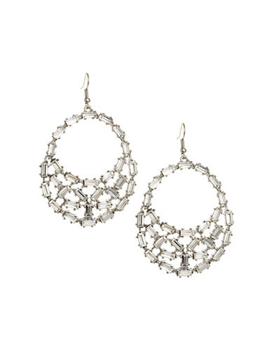 Expression Baguette Cluster Disc Earrings-SILVER-One Size