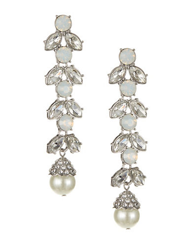 Expression Floral Link Drop Earrings-WHITE-One Size