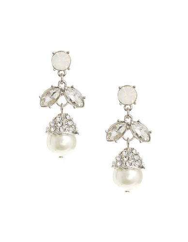 Expression Botanical Faux Pearl Drop Earrings-WHITE-One Size