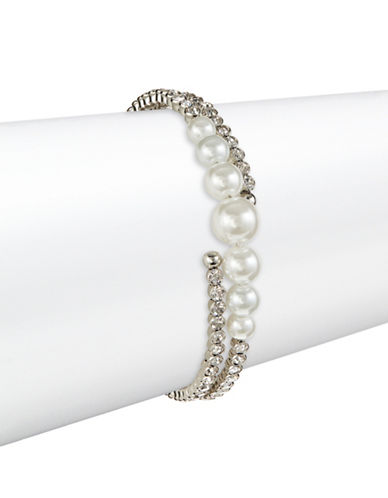 Expression Rhinestone and Faux Pearl Coil Bracelet-WHITE-One Size
