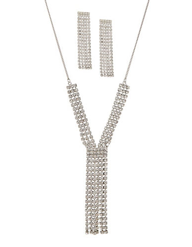 Expression Y Necklace and Rhinestone Earrings Two Piece Set-SILVER-One Size