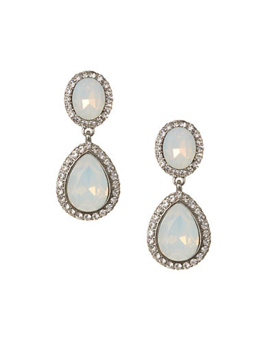 Expression Double Drop Rhinestone Earrings-WHITE-One Size