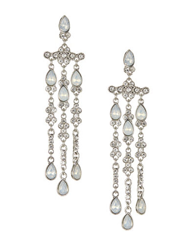 Expression Three-Row Chandelier Earrings-WHITE-One Size