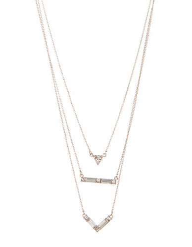 Expression Three Row Rhinestone Necklace-ROSE GOLD-One Size