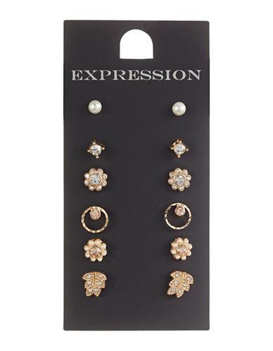 Expression Set of Six Mini Stud Earrings-BEIGE-One Size