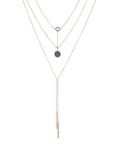Expression Three Row Rose Goldtone Necklace-BLACK-One Size