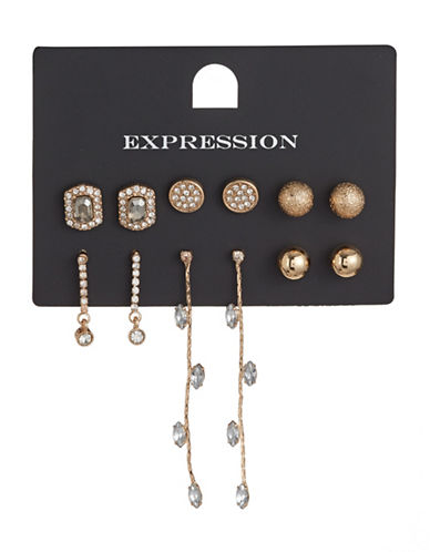 Expression Six-Pair Textured Goldtone Earrings Set-GOLD-One Size
