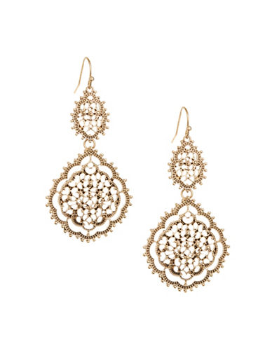Expression Filigree Disc Drop Earrings-GOLD-One Size