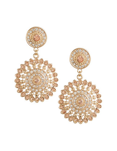Expression Crystal Disc Drop Earrings-ORANGE-One Size