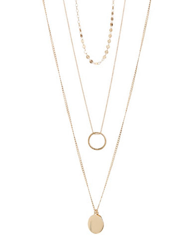 Expression Set of Three Goldtone Disc Necklace-GOLD-One Size