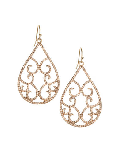 Expression Crystal Filigree Teardrop-Shaped Drop Earrings-ORANGE-One Size