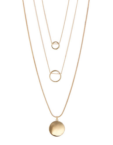 Expression Set of Three Ring Necklaces-GOLD-One Size