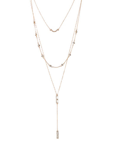 Expression Crystal Three-Row Dangly Multi-Strand Necklace-GOLD-One Size