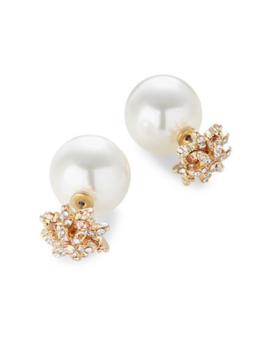Expression Faux Pearl Bauble Earrings-WHITE-One Size