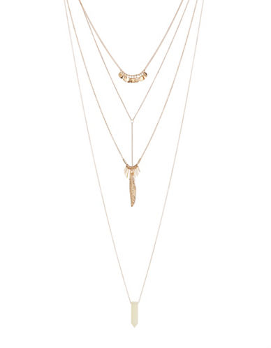 Expression Four Row Leaf Stone Necklace-GOLD-One Size