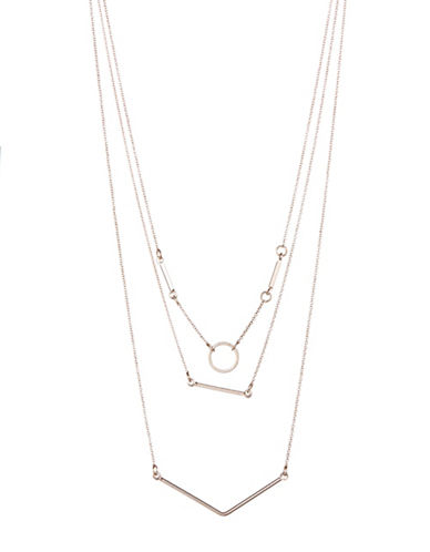 Expression Three Row O Ring Necklace-ROSE GOLD-One Size
