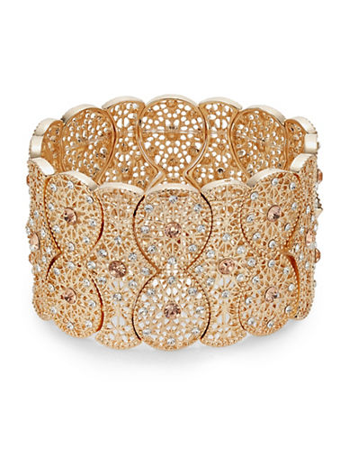 Expression Filigree Multi-Rhinestone Stretch Band Bracelet-ORANGE-One Size