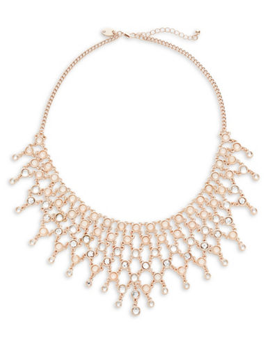 Expression Crystal Multi Dangly Stone Collar Necklace-PINK-One Size