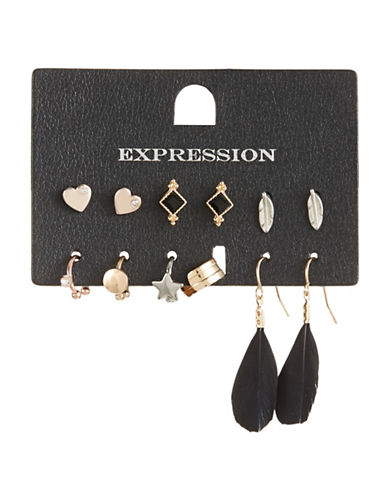 Expression Pack of Six Crystal Multi-Shaped Earring Set-ASSORTED-One Size