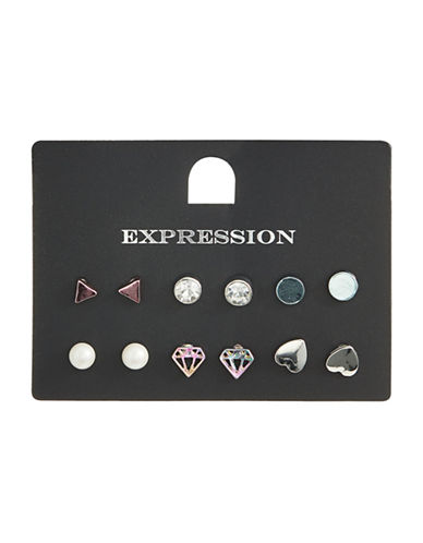 Expression Pack of Six Shape Stud Earrings-ASSORTED-One Size