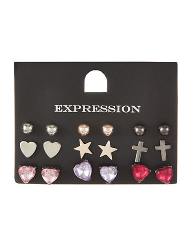 Expression Set of Nine Faceted Heart, Cross & Stars Stud Earrings-ASSORTED-One Size