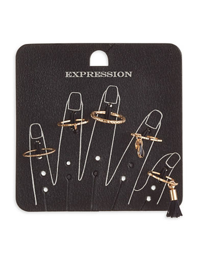 Expression Set of Five Skinny Rings-BLACK-9