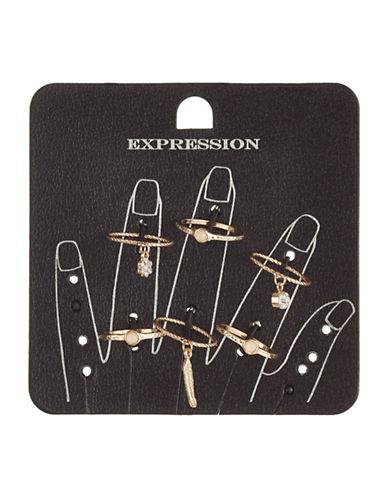 Expression Set of Six Charm Rings-GOLD-8