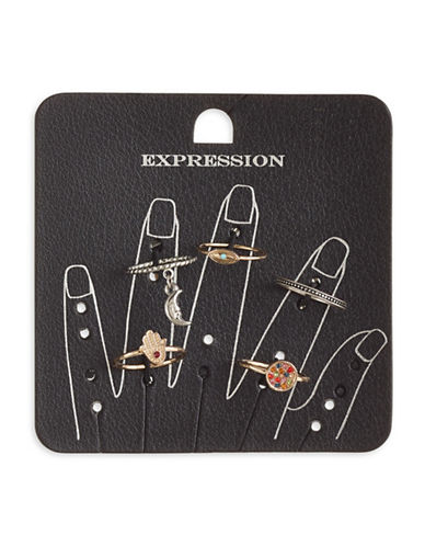 Expression Set of Five Moon and Stone Rings-ASSORTED-7