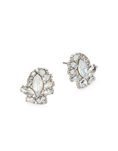 Expression Navette Rhinestone Stud Earrings-WHITE-One Size