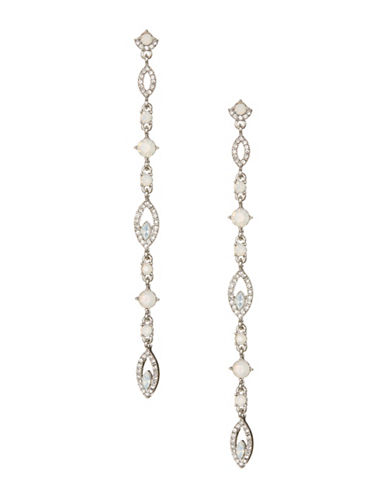 Expression Pave Teardrop Stone Earrings-WHITE-One Size