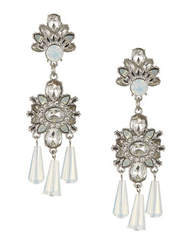Expression Layered Statement Drop Earrings-WHITE-One Size