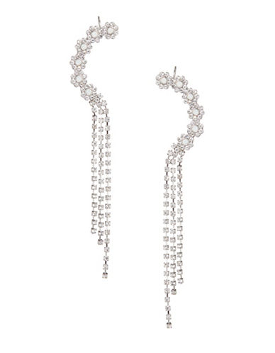 Expression Floral Rhinestone Ear Cuff Earrings-WHITE-One Size